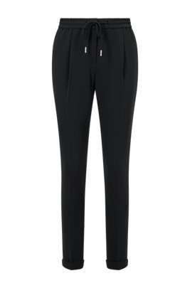 Regular-fit trousers in Japanese crepe with drawstring waist, Black