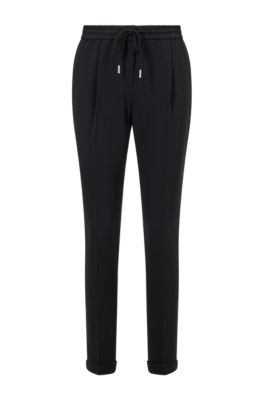 Pantalon Relaxed Fit court en crêpe stretch, Noir