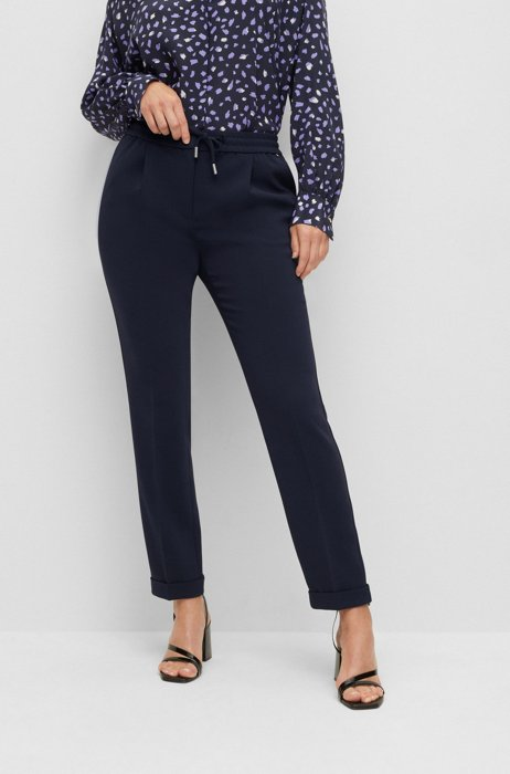 Regular-fit trousers in Japanese crepe with drawcord waist, Dark Blue