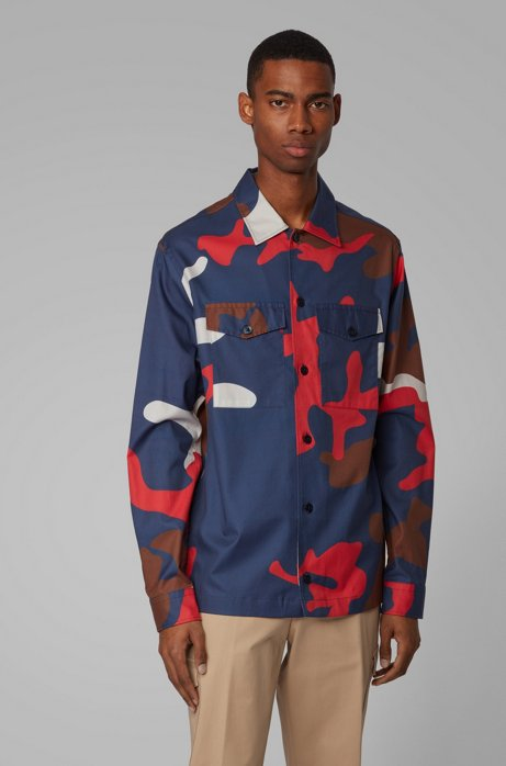 Relaxed-fit overshirt in cotton twill with camouflage print, Dark Blue