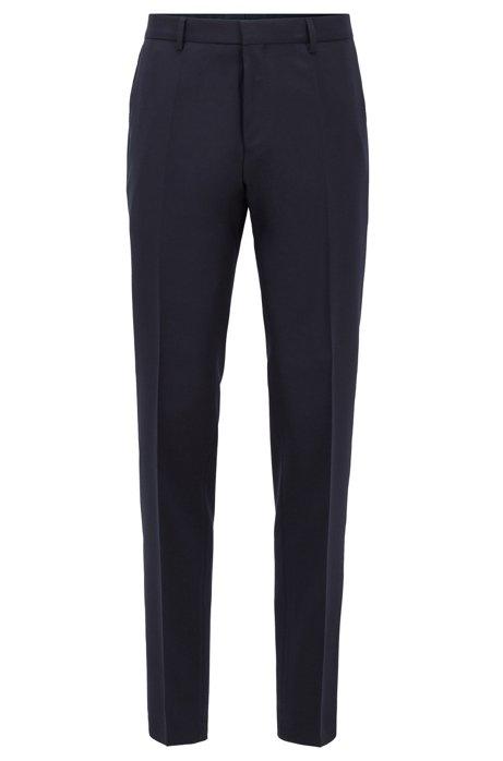 Pantaloni slim fit in lana vergine con micromotivo, Blu scuro