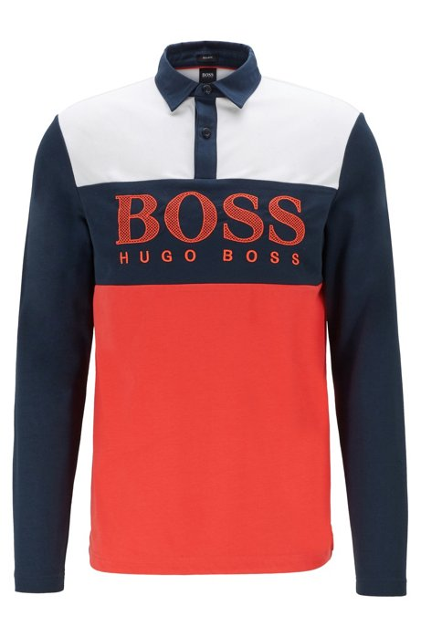Long-sleeved polo shirt with mesh-effect logo print, Red