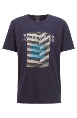 Crew-neck T-shirt in mercerised cotton with photographic print, Dark Blue