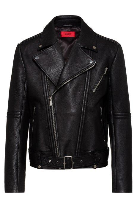 Cazadora biker slim fit de piel de napa con peso, Negro