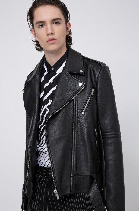 Slim-Fit Bikerjacke aus schwerem Nappaleder, Schwarz