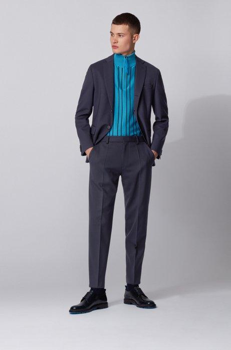 Traje relaxed fit de lana virgen elástica, Azul oscuro