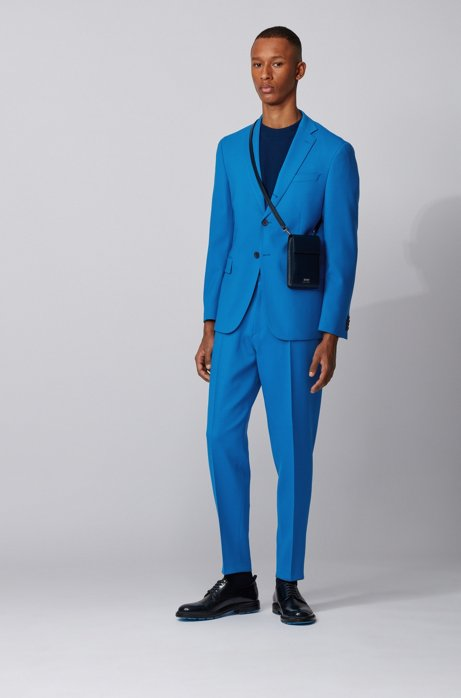 Relaxed-fit suit in stretch virgin wool, Blue