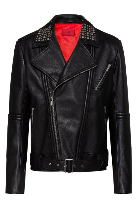 Slim-fit leather jacket with studded details, Black