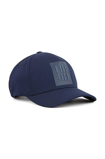男士字母图案弹力斜纹布帽,  402_暗蓝色