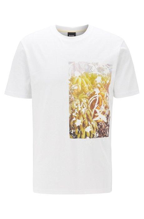 T-shirt in jersey di cotone con stampa fotografica priva di PVC, Bianco