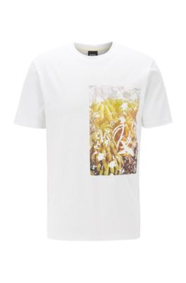 T-Shirt aus Baumwoll-Jersey mit PVC-freiem Foto-Print, Weiß