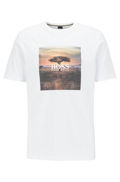 T-Shirt aus Jersey mit PVC-freiem Foto-Print, Weiß