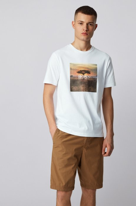 Pure-cotton T-shirt with PVC-free photographic print, White