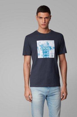 Pure-cotton T-shirt with PVC-free photographic print, ダークブルー