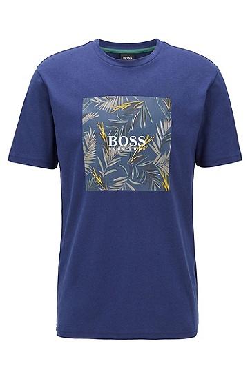 男士无 PVC 照片印花纯棉 T 恤,  411_海军蓝色
