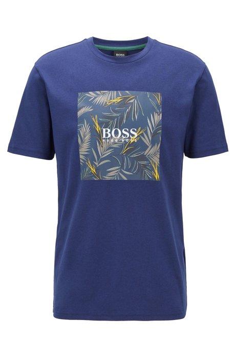 T-Shirt aus Jersey mit PVC-freiem Foto-Print, Blau