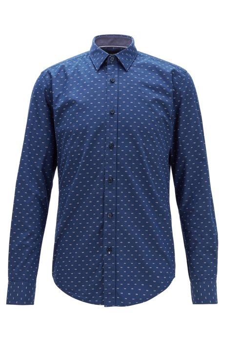 Slim-fit shirt in patterned cotton, Dark Blue