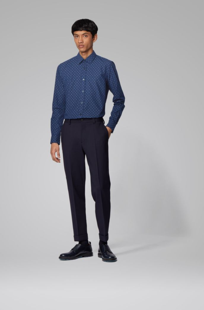 Camicia slim fit in cotone a motivi