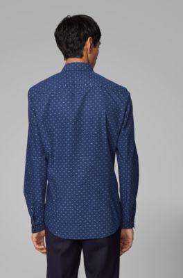 NUOVO Hugo Boss Da Uomo Formali Eleganti A Righe Blue Slim Fit Camicia Business 15 38 piccole