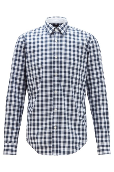 Slim-fit shirt in patterned cotton, Blue