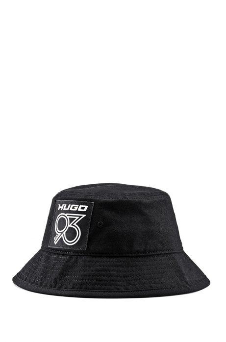 Unisex bucket hat with HUGO '93 badge, Black