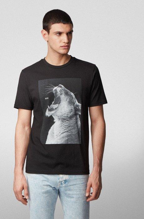 Cotton-jersey T-shirt with PVC-free animal print, Black