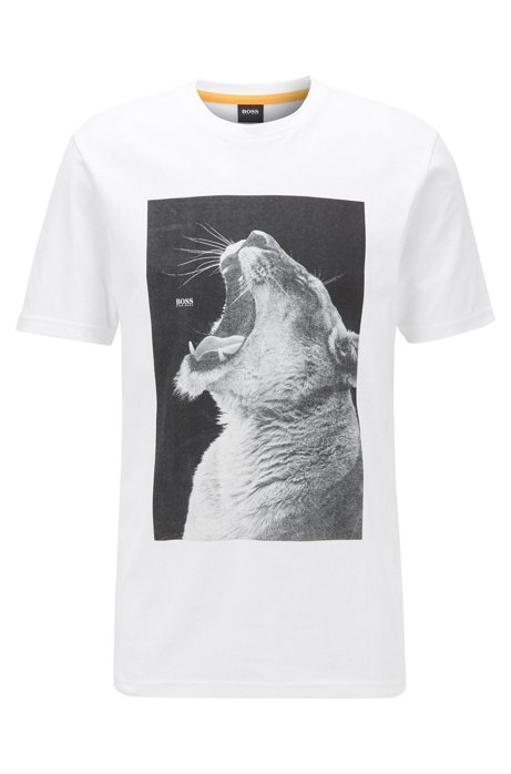 Cotton-jersey T-shirt with PVC-free animal print, White