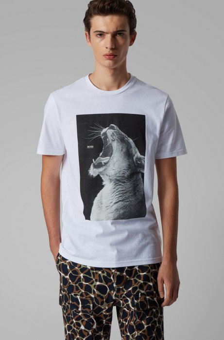 T-Shirt aus Baumwoll-Jersey mit PVC-freiem Tier-Print, Weiß