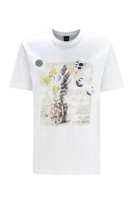 Recycelbares T-Shirt aus reiner Baumwolle mit PVC-freiem Foto-Print, Weiß