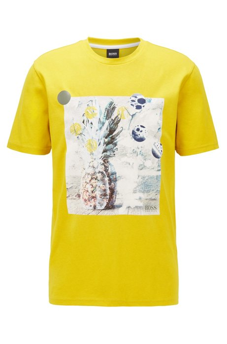 Pure-cotton recyclable T-shirt with PVC-free photographic print, Yellow