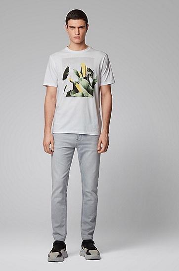 男士照片印花圆领 T 恤,  100_白色