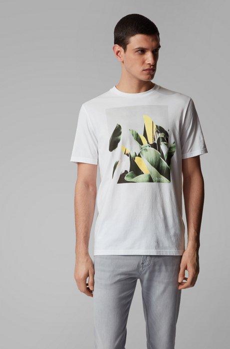T-Shirt aus Pima-Baumwolle mit Rundhalsausschnitt und Foto-Print, Weiß