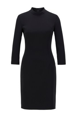Japanese-crepe dress with stand collar, Black