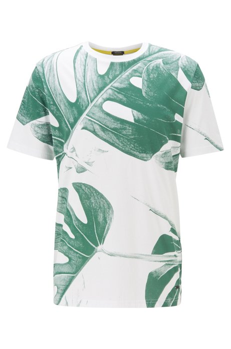 Pima-cotton T-shirt with water-based leaf print, White