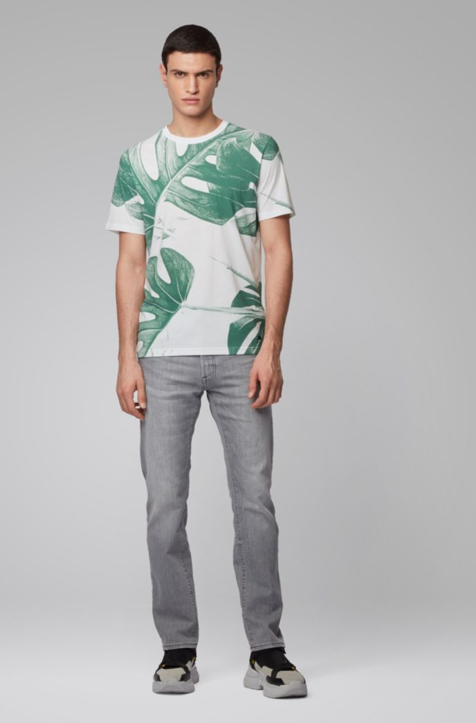 T-shirt en coton Pima avec imprimé feuilles à base d'eau