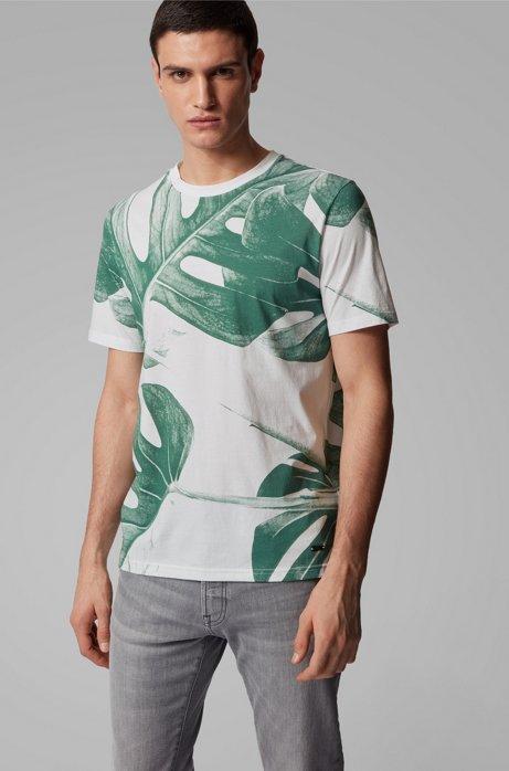 T-shirt en coton Pima avec imprimé feuilles à base d'eau, Blanc