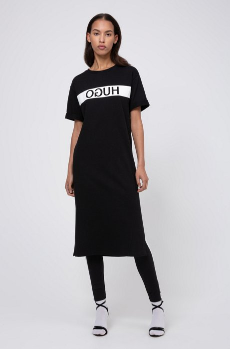 Relaxed-fit jersey T-shirt dress with reversed logo, Black