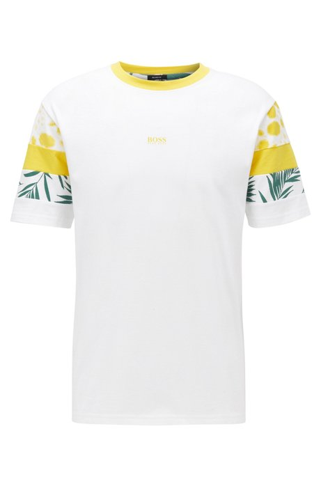 Relaxed-fit T-shirt in cotton with sleeve print , White