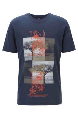 T-shirt en coton mélangé à imprimé kapok, Bleu foncé