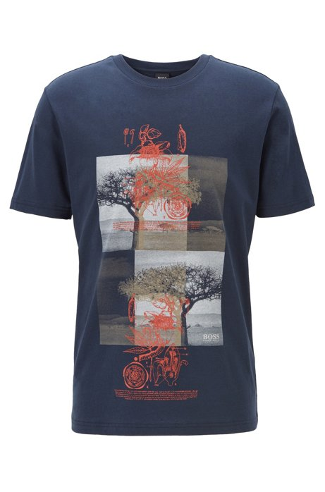 Cotton-blend T-shirt with kapok-tree print, Dark Blue