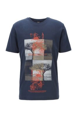 Camiseta en mezcla de algodón con estampado de ceiba, Azul oscuro