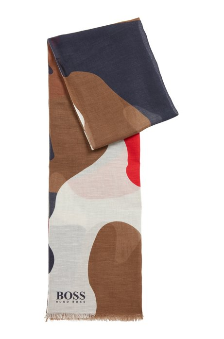Sjaal van katoen en linnen met camouflageprint, Donkerblauw