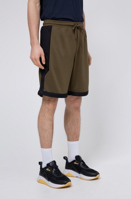 Bermuda relaxed fit in jersey con finiture nastrate a righe, Kaki