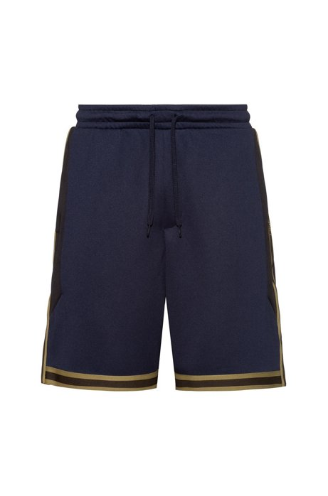 Relaxed-fit jersey shorts with striped-tape trims, Dark Blue