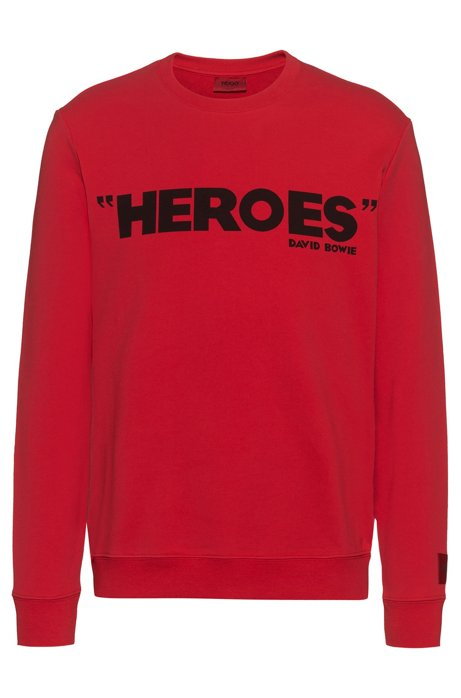 French-terry cotton sweatshirt with iconic print, Red