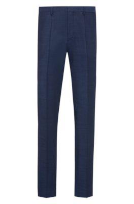 Pantalones extra slim fit en mezcla de lana virgen, Azul