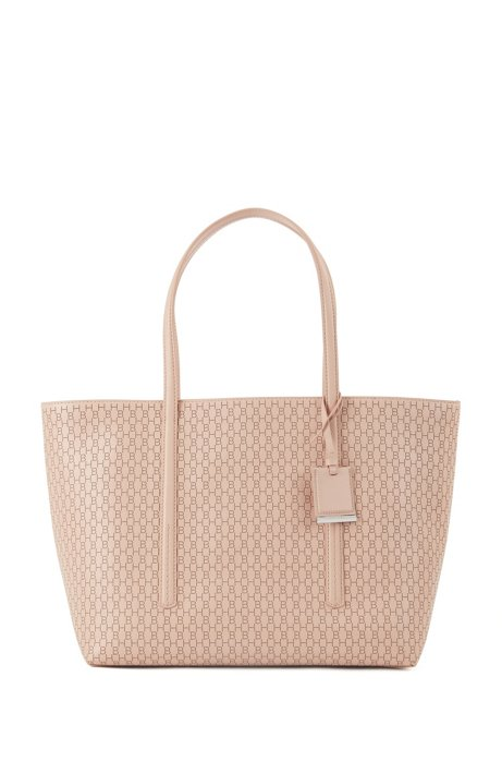Leather shopper bag with lasered monograms, Light Beige