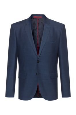 Extra-slim-fit jacket in a micro-patterned wool blend, Blue