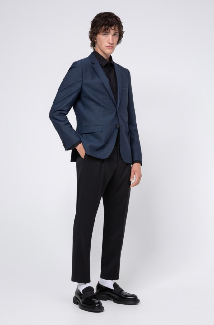 Extra-slim-fit jacket in a micro-patterned wool blend