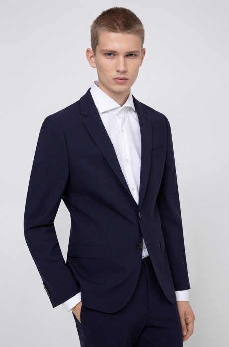 Slim-fit jacket in checked stretch wool , Blue